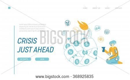 Global Economics Crisis Landing Page Template Female Character Sitting At Huge Bomb Made Of Dollar B