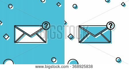 Black Envelope With Question Mark Icon Isolated On Blue And White Background. Letter With Question M
