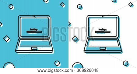 Black Laptop Update Process With Loading Bar Icon Isolated On Blue And White Background. System Soft