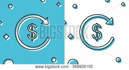 Black Refund Money Icon Isolated On Blue And White Background. Financial Services, Cash Back Concept