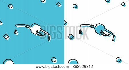 Black Gasoline Pump Nozzle Icon Isolated On Blue And White Background. Fuel Pump Petrol Station. Ref