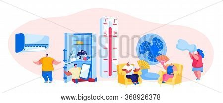 Characters In Summer Time Hot Period Concept. Sweltering In Heat Young And Aged People Sitting On So
