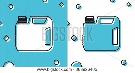 Black Plastic Canister For Motor Machine Oil Icon Isolated On Blue And White Background. Oil Gallon.