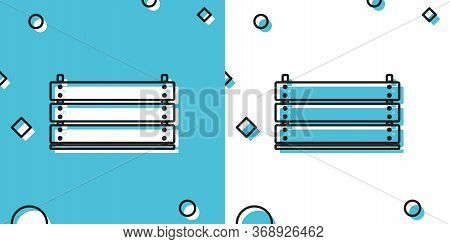 Black Wooden Box Icon Isolated On Blue And White Background. Grocery Basket, Storehouse Crate. Empty