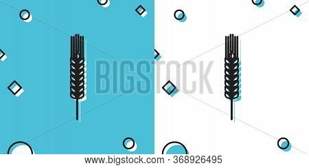 Black Cereals Icon Set With Rice, Wheat, Corn, Oats, Rye, Barley Icon On Blue And White Background.