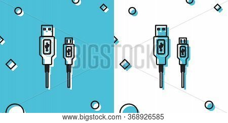 Black Usb Micro Cables Icon Isolated On Blue And White Background. Connectors And Sockets For Pc And
