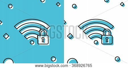 Black Wifi Locked Icon Isolated On Blue And White Background. Password Wi-fi Symbol. Wireless Networ