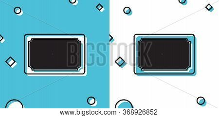 Black Doormat With The Text Welcome Icon Isolated On Blue And White Background. Welcome Mat Sign. Ra
