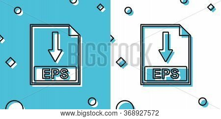 Black Eps File Document Icon. Download Eps Button Icon Isolated On Blue And White Background. Random