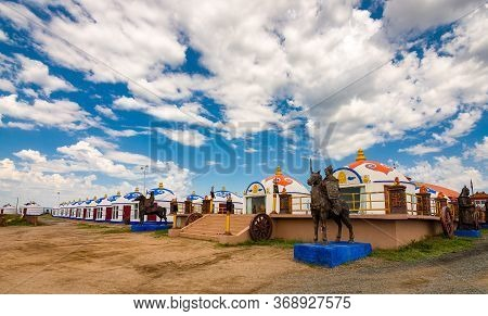 Kubuqi Desert, Inner Mongolia Province / China - July 31, 2016: Rows Of Yurt Tents In Inner Mongolia