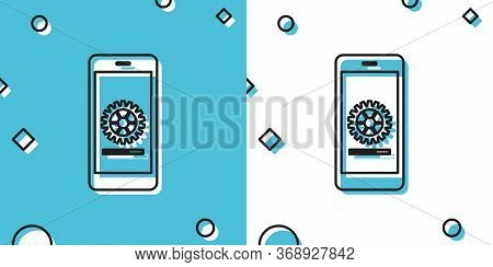 Black Smartphone Update Process With Gearbox Progress And Loading Bar Icon Isolated On Blue And Whit