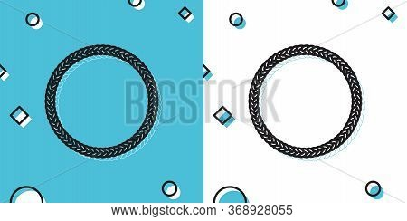 Black Rope Frame Icon Isolated On Blue And White Background. Frames From Nautical Rope. Round Marine