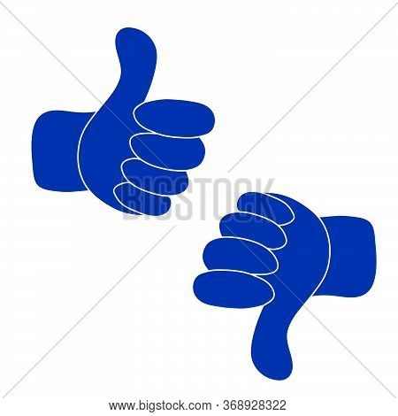 Up And Down Blue Hands Vector - Thumbs Up And Thumbs Down - Like And Dislike Icon