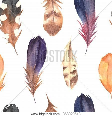 Hand Drawn Watercolor Boho Elements Set. Boho Style Feathers, And Teepee Isolated Illustration On Wh