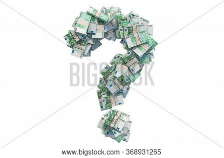Question Mark From Euro Packs. Financial Question Concept, 3d Rendering Isolated On White Background