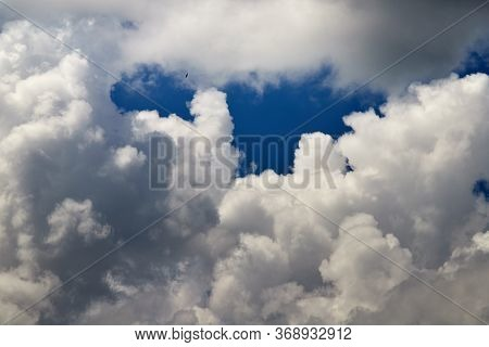 Beautiful, Spring Clouds In The Blue Sky, Which Portend The Change Of Weather.