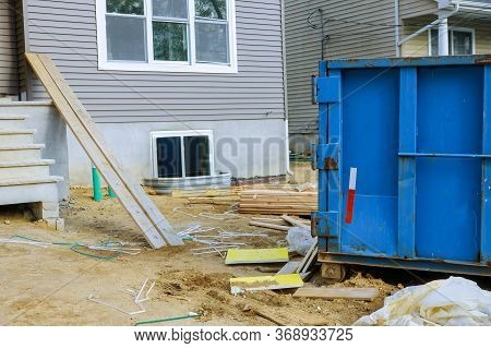 Wood Frame Structure Of Incomplete House Under Construction On Construction Building From Beam Const