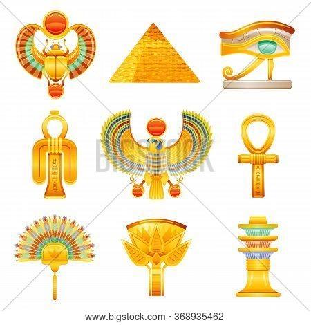 Ancient Egypt Icon Set. Egyptian Pharaoh Vector Symbols. Ra Sun Scarab, Pyramid, Horus Wadjet Eye, I