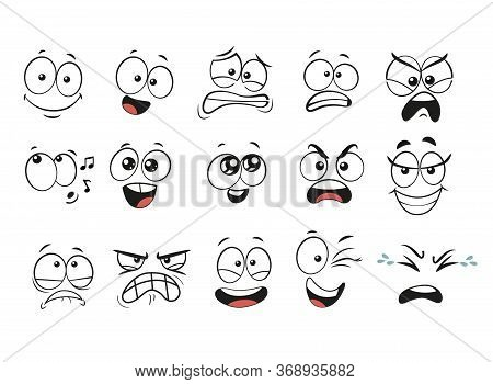 Cartoon Facial Expressions Set. Cartoon Faces. Expressive Eyes And Mouth, Smiling, Crying And Surpri