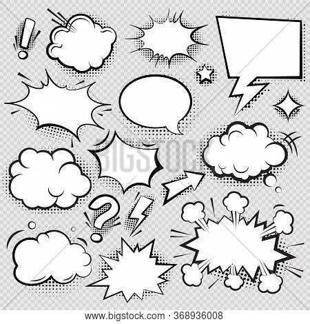 Set Of Comic Speech Bubbles And Elements With Halftone Shadow Effect In Transparent Background. Comi