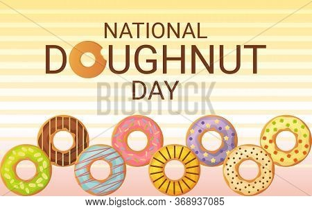 National Donut Day Banner. 5th June. Can Be Used For Web. Stock Vector Illustion In Flat Cartoon Sty
