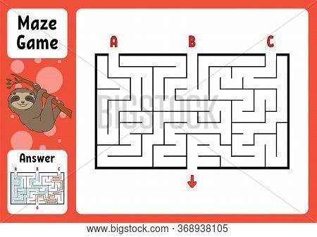 Rectangle Maze. Game For Kids. Three Entrances, One Exit. Puzzle For Children. Labyrinth Conundrum.