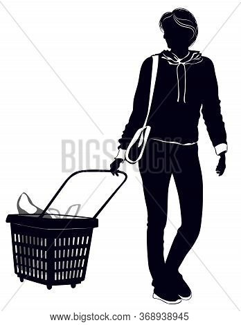 Silhouette Of A Woman With A Grocery Cart On Casters - Vector Illustration