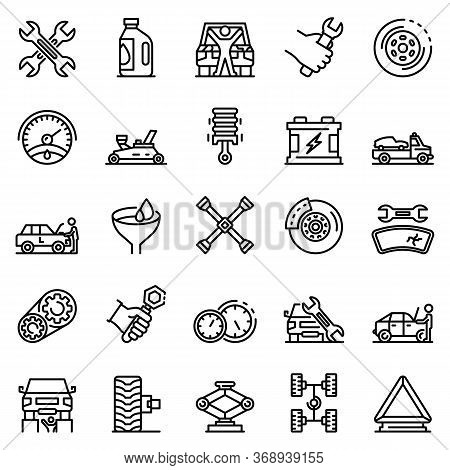 Auto Mechanic Icons Set. Outline Set Of Auto Mechanic Vector Icons For Web Design Isolated On White