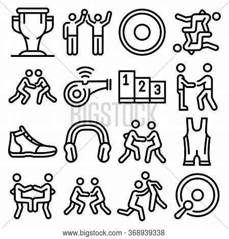 Greco-roman Wrestling Icons Set. Outline Set Of Greco-roman Wrestling Vector Icons For Web Design Is