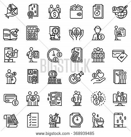 Allowance Icons Set. Outline Set Of Allowance Vector Icons For Web Design Isolated On White Backgrou