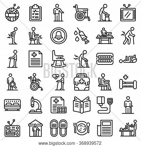 Nursing Home Icons Set. Outline Set Of Nursing Home Vector Icons For Web Design Isolated On White Ba