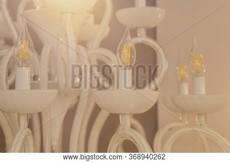 Close Up On Crystal Of Classic Style Chandelier, Is A Branched Ornamental Light Fixture Designed To