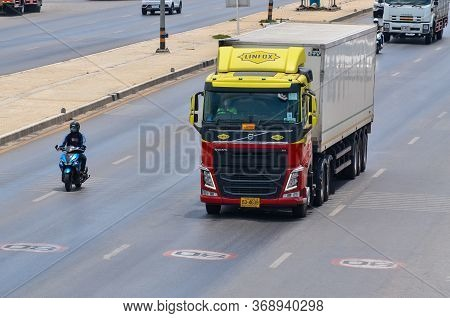 Samut Sakhon, Thailand - May 2020: Linfox Trucks Running For Transportation Customer Service On Phut