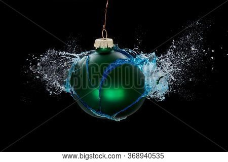 An Exploding Bauble. Concept For Troubled Holidays