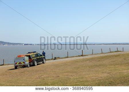 Brean, Burnham-on-sea, Somerset / Uk - May 30, 2020: Hm Coastguard 4x4 Nissan Rescue Vehicle Patroll