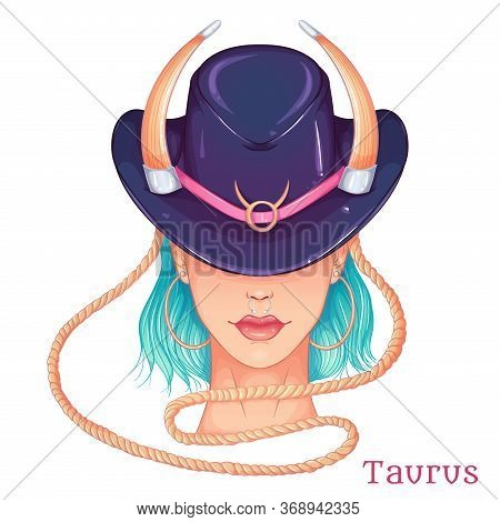 Zodiac. Vector Illustration Of The Astrological Sign Of Taurus As A Beautiful Fashion Girl In Hat. S