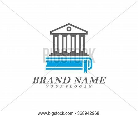Creative Government Building With Book Logo Template Vector, Icon Symbol