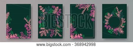 Tropical Herb Twigs, Tree Branches, Flowers Floral Invitation Cards Templates. Herbal Frames Vintage
