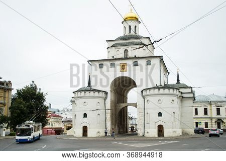 Vladimir, Russia-september 03, 2017 Vladimir Golden Gate On A Cloudy Day, Part Of The Golden Ring Of
