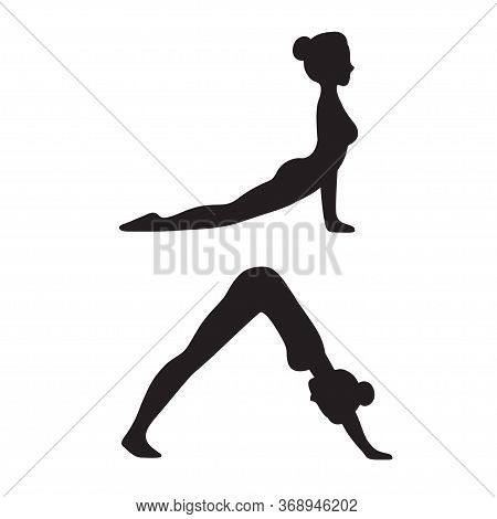 Downward Facing Dog (adho Mukha Svanasana) And Upward Facing Dog (urdhva Mukha Svanasana) Yoga Pose.