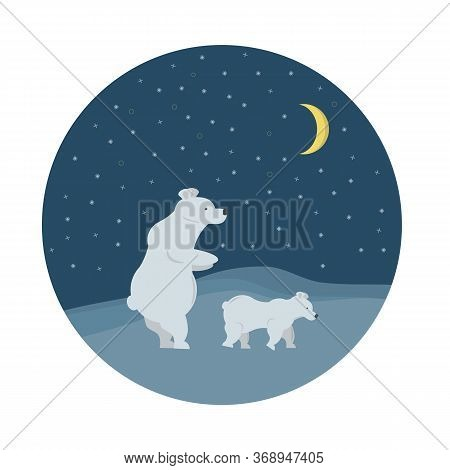 Mama Polar Bear With Baby Under Night Sky And Moon In Antarctic North Pole. Vector Illustration For