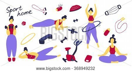 Sport Set. Icons Of Sports Equipment And Training People. Workout At Home, Sport Exercises At Home.
