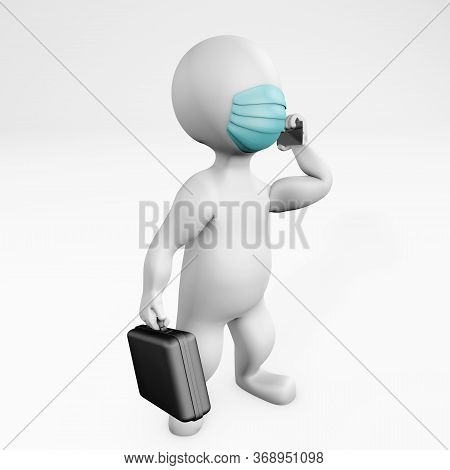 Fatty Businessman With A Mask Talking On The Phone 3d Rendering Isolated On White