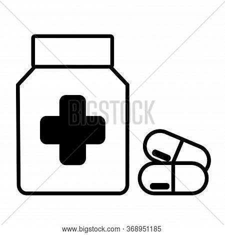 Medicine Bottle And Pills. Medicament Icon. Vector Illustration