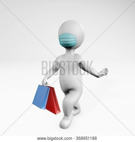Fatty Sassy Woman With A Mask Catwalking And Shopping 3d Rendering Isoleated On White