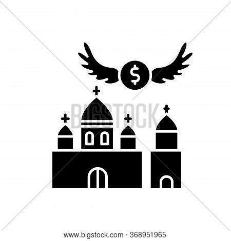 Church Donation Black Glyph Icon. Charity For Religious Community. Contribution To Christian Congreg