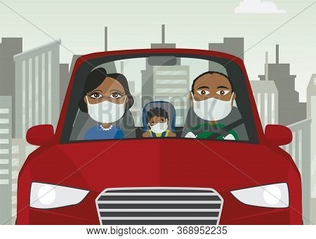 Driving Car Family Male Female Baby Black With Mask White Gloves Holding Steering Wheel In Blue Car