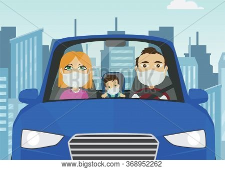 Driving Car Family Male Female Baby Caucasian With Mask White Gloves Holding Steering Wheel In Blue