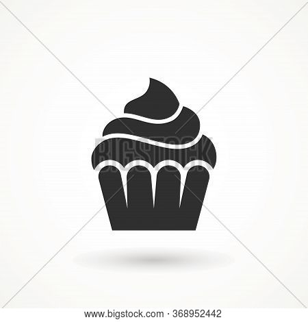 Vanilla Cream Cupcake Muffin Icon Illustration Confectionery Bakery Pastry Icon Sign Logo On Isolate