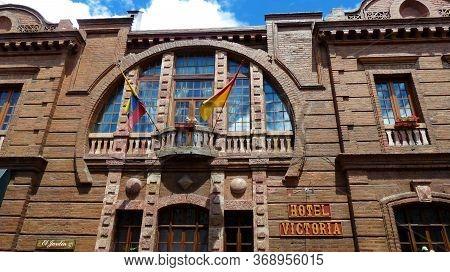 Cuenca, Ecuador - May 22, 2020: Facade Of Hotel Victoria At The Street Calle Larga In Historical Cen